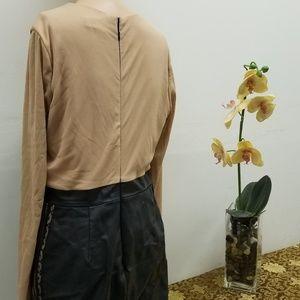 VENUS Dresses - Venus Faux Leather, Nude and Lace Dress GUC